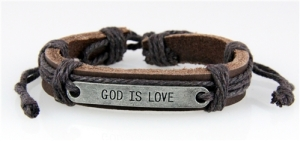 words god is love written on wristband