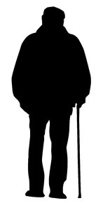 silhouette of old man with walking stick